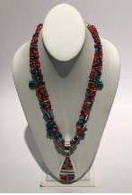 Red Beaded Necklace & Pendant